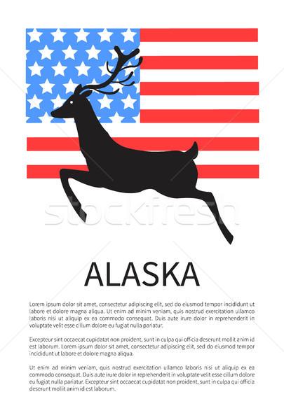 Alaska affiche drapeau américain cerfs noir silhouette Photo stock © robuart