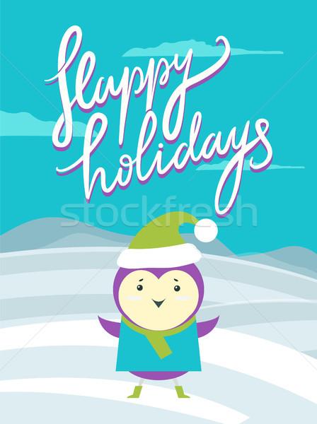 Boldog ünnepek plakát madár főcím kalligráfia Stock fotó © robuart