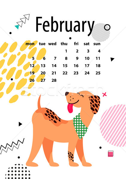 Сток-фото: страница · календаря · Cute · собака · красочный · белый