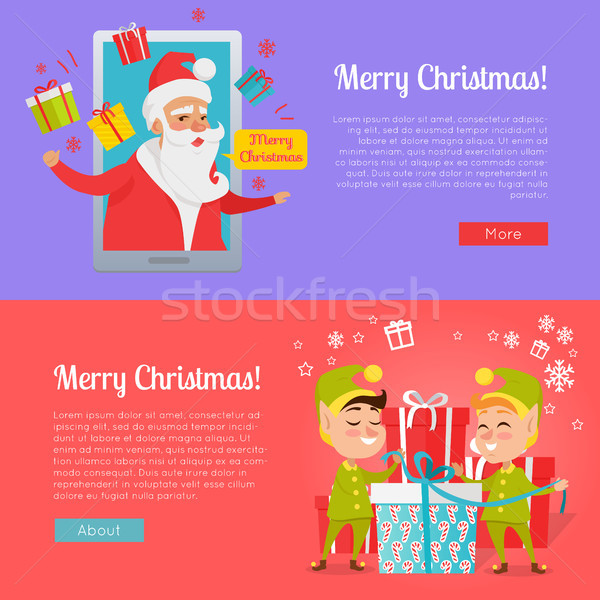 Poster of Colourful Merry Christmas Pictures. Stock photo © robuart