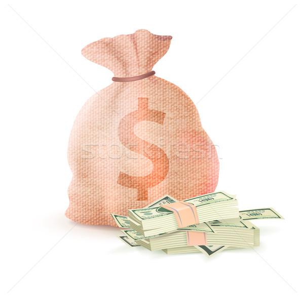 Bankügylet zsák tele pénz dollár bankjegy Stock fotó © robuart