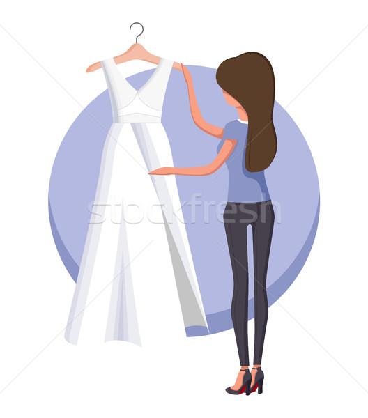 женщину подвенечное платье плакат долго белый Сток-фото © robuart