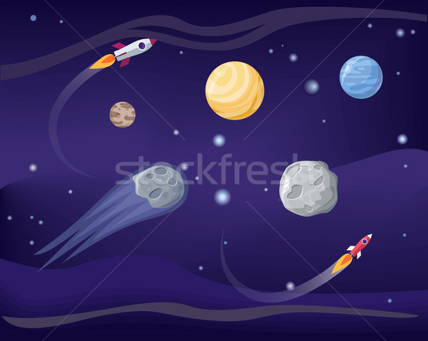 Planets and Rockets Poster Set Vector Illustration Stock photo © robuart