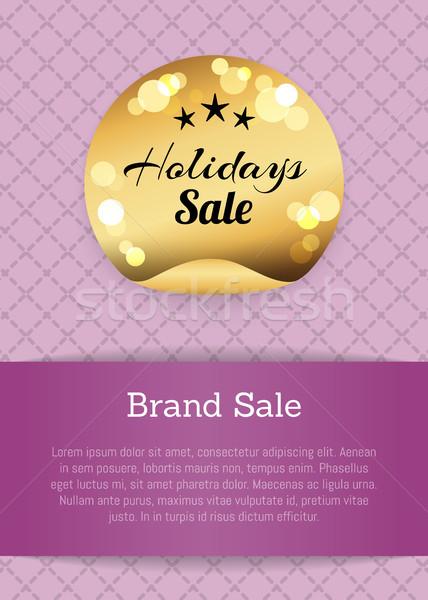 Foto stock: Marca · férias · venda · dourado · etiqueta · estrelas
