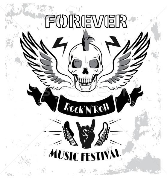 Voor altijd rock rollen muziek muziekfestival poster Stockfoto © robuart