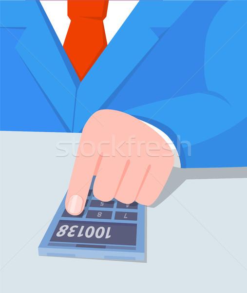 üzletember számológép megoldás munka férfi izolált Stock fotó © robuart