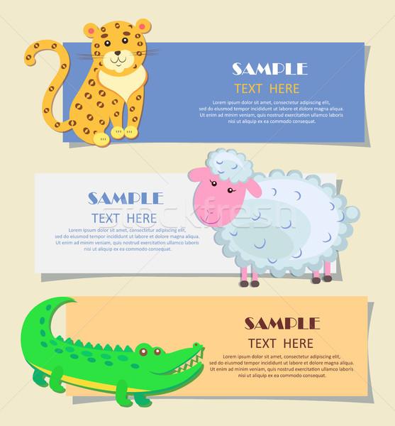 Three Horizontal Cards with Animals Teaching Image Stock photo © robuart