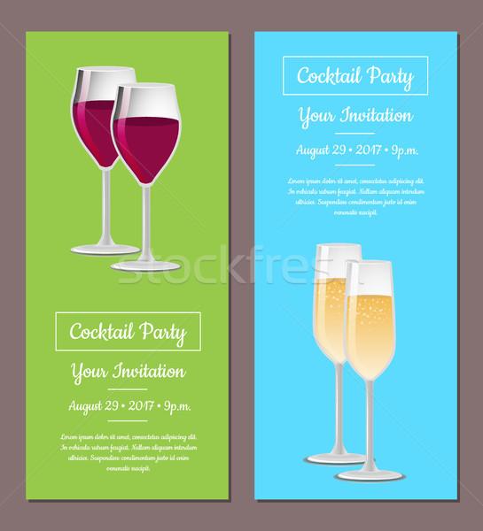 коктейль приглашения плакат шаблон информации информации Сток-фото © robuart