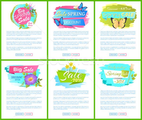 Stockfoto: Voorjaar · verkoop · posters · ingesteld · korting · kleur
