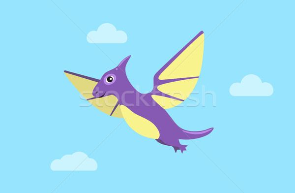 Flying Pteranodon and Clouds Vector Illustration Stock photo © robuart