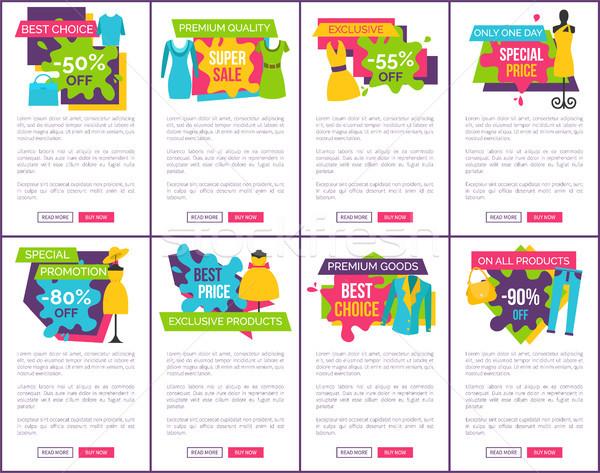Establecer promoción insignias color exclusivo Foto stock © robuart