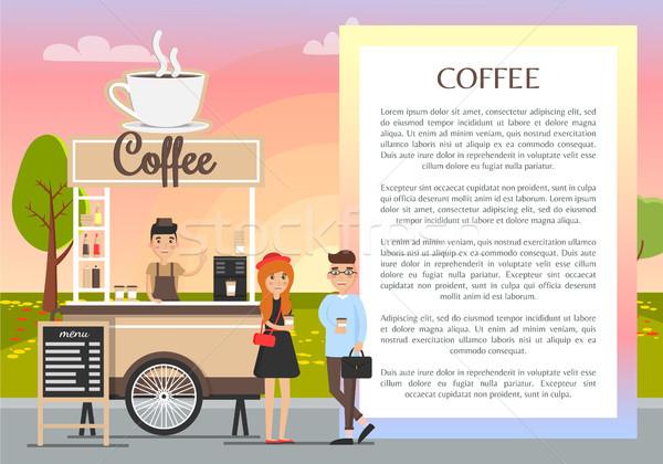 Kávéház szalag színes mobil áll nagy Stock fotó © robuart