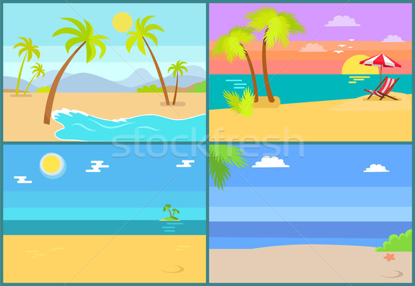 Set Tropical Islands Vector Palm Trees Endless Sea Stock photo © robuart