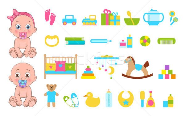 Baby s Toys Collection Icons Vector Illustration Stock photo © robuart