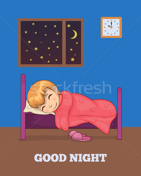 Good Night Poster with Girl Sleeping in Bed Vector Stock photo © robuart