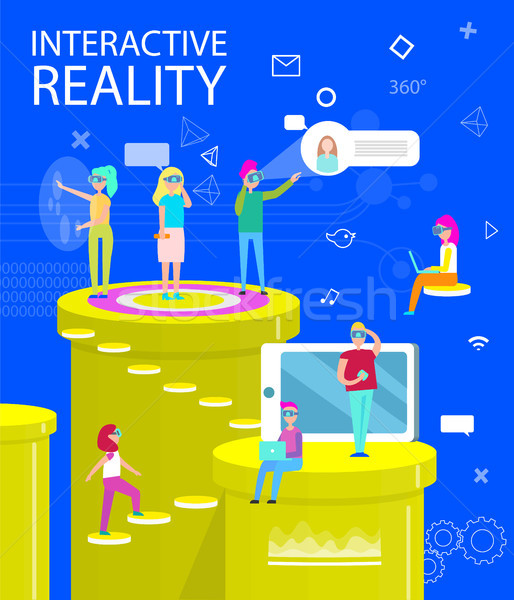 Interactieve realiteit abstract virtueel wereld poster Stockfoto © robuart