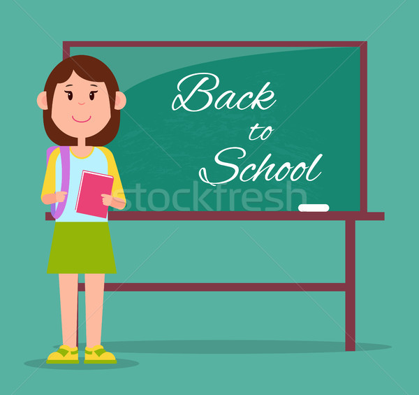 Fényes vissza az iskolába poszter izolált zöld iskolatábla Stock fotó © robuart