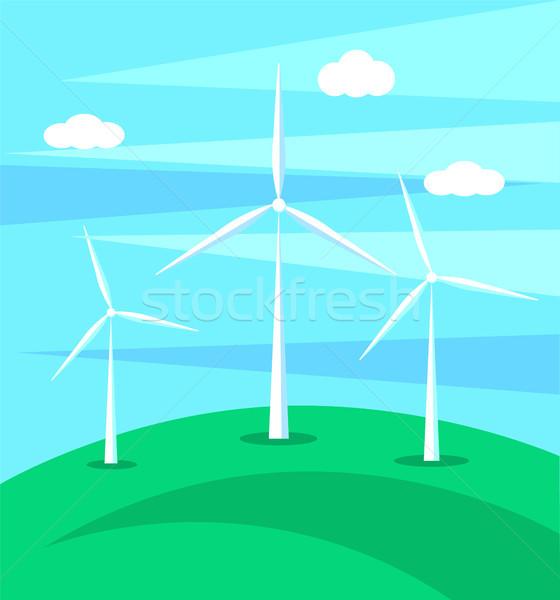 Hatalmas szél zöld domb háttér kék ég Stock fotó © robuart