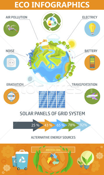 Eco Infographic with Data and Earth Illustration Stock photo © robuart