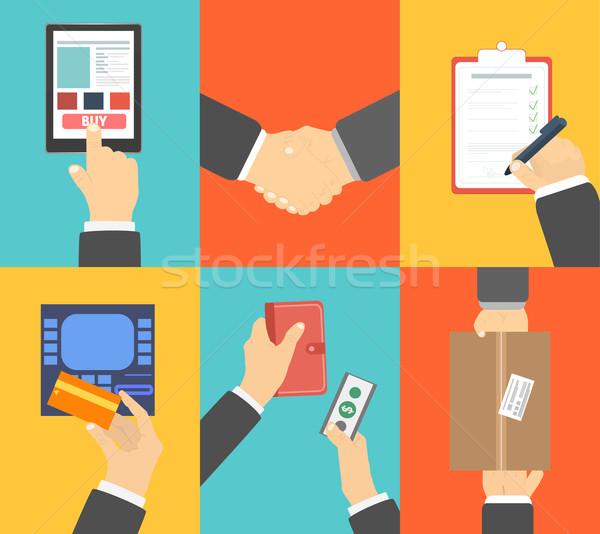 Сток-фото: набор · бизнеса · рук · действий · электронной · коммерции