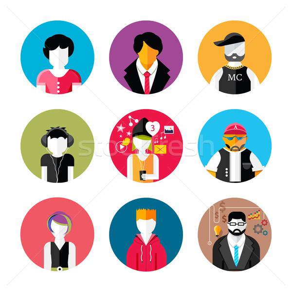 Set of stylish avatars of man and woman icons Stock photo © robuart