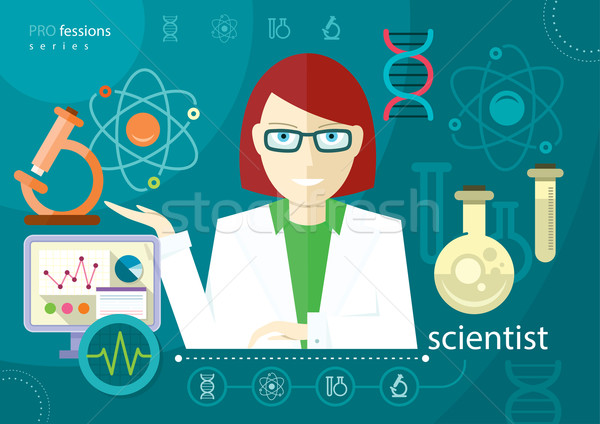 Stock photo: Profession scientist with icon elements of laboratory