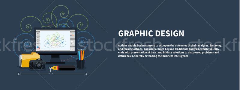 ストックフォト: Webデザイン · グラフィックデザイン · バナー · アイコン · デザイン · モニター