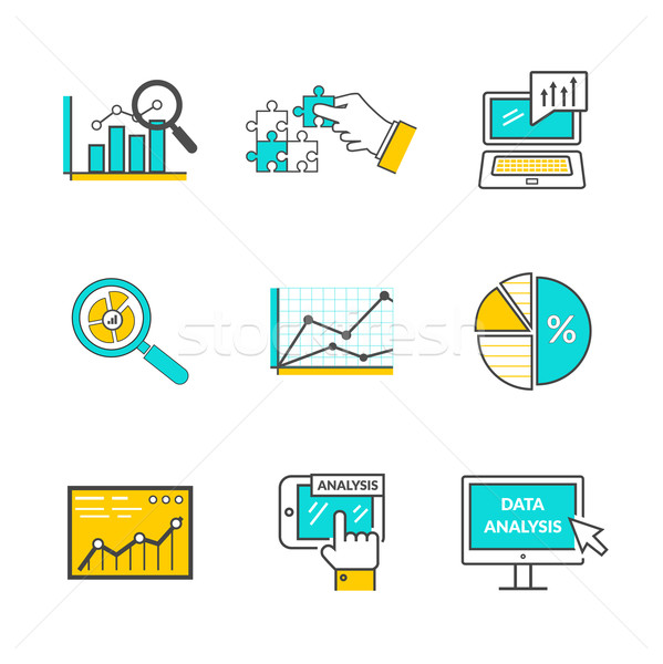 Сток-фото: набор · иконки · стиль · данные · анализ · информации