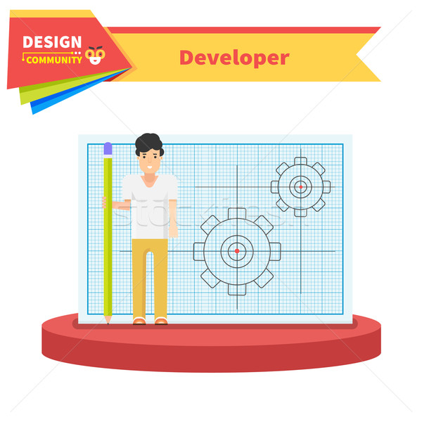 Developer Man Flat Design Concept Stock photo © robuart