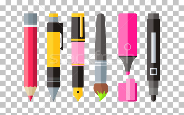 Painting Tools Pen Pencil and Marker Flat Design Stock photo © robuart