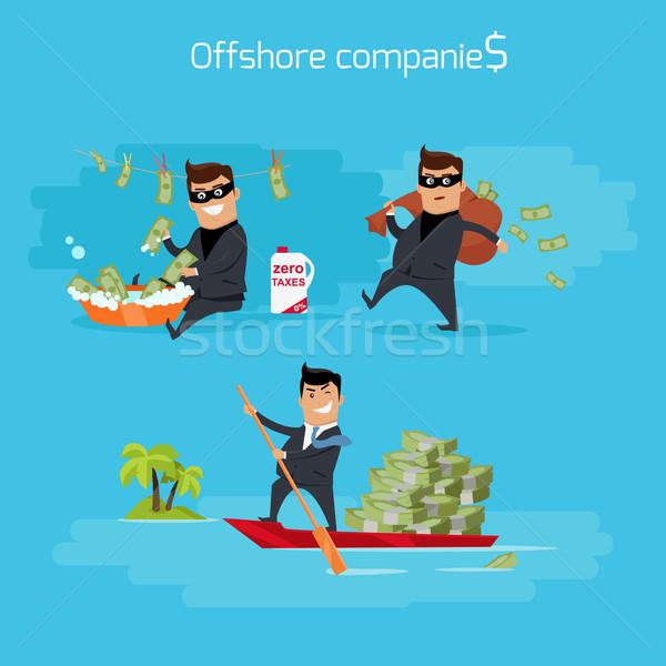 Ingesteld offshore bedrijven illustratie vector Stockfoto © robuart