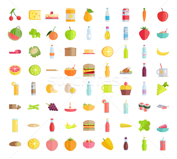 Big Collection of Food Concepts in Flat Design. Stock photo © robuart