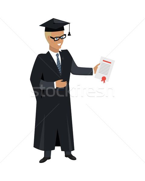 человек платье академический квадратный Cap изолированный Сток-фото © robuart