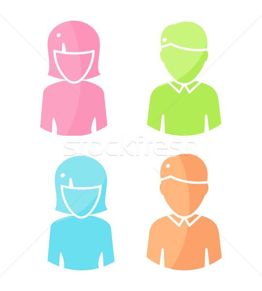 Szett emberek betűk szín piktogramok avatar Stock fotó © robuart