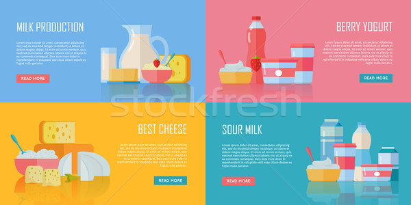 Tradicional banners conjunto diferente leite Foto stock © robuart