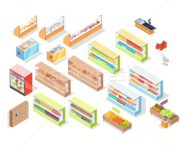 Supermarket Departments Interior Set Shop Icons Stock photo © robuart