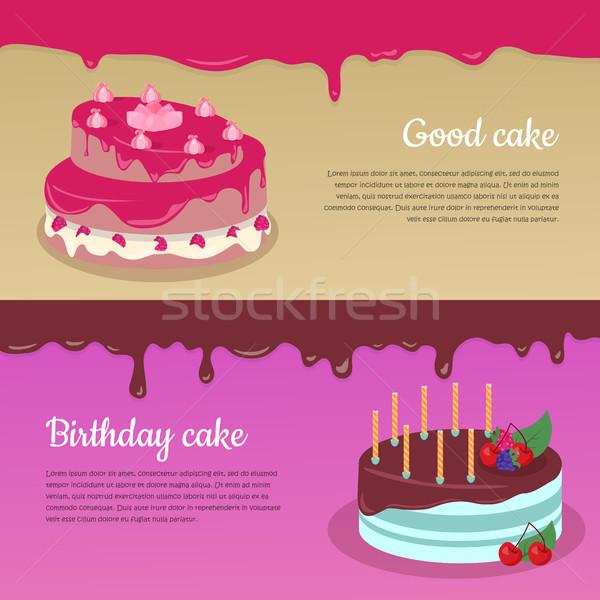 Tort maliny zestaw dobre ciasto urodziny Zdjęcia stock © robuart