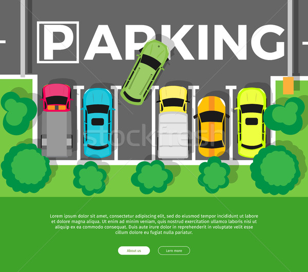 Parking Top View Vector Web Banner in Flat Design Stock photo © robuart