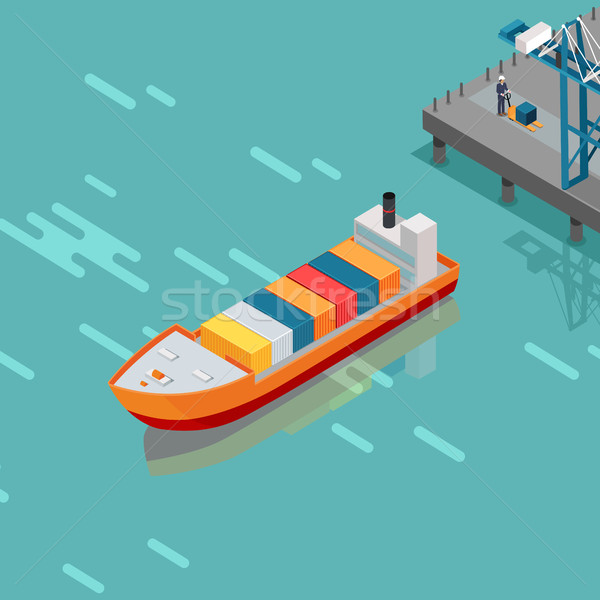 Cargo Port Illustration in Isometric Projection Stock photo © robuart