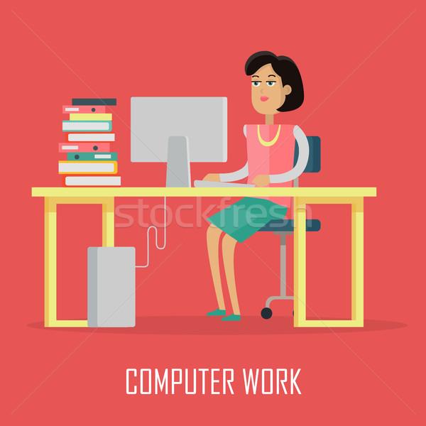 Stockfoto: Computer · werk · illustratie · ontwerp · vector · vrouw