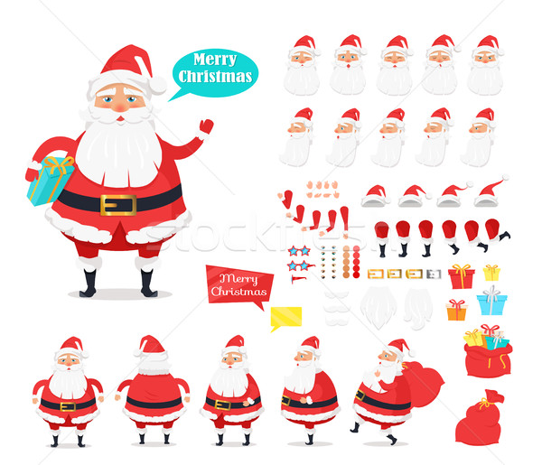 Merry Christmas. Collection of Santa Claus Icons Stock photo © robuart