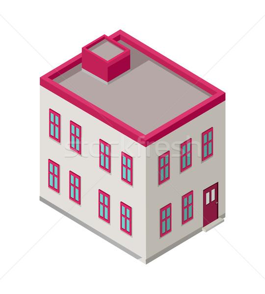 Foto stock: Isométrica · cidade · edifício · vetor · ícone · arquitetura · moderna