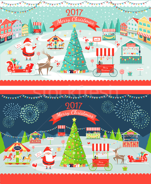 Christmas Market Day and Night Panoramic Vector Stock photo © robuart