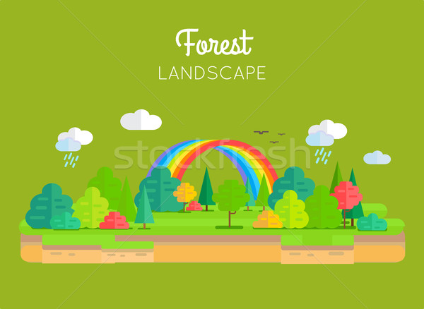 Forest Landscape Vector Concept In Flat Design. Stock photo © robuart