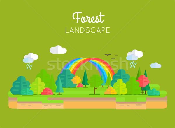 Floresta paisagem vetor projeto estilo ilustração Foto stock © robuart