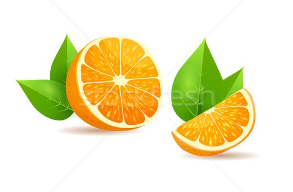 Oranje bladeren cartoon geïsoleerd illustratie half Stockfoto © robuart