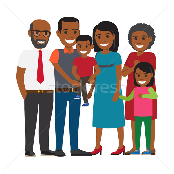 Tree Generations of Family Together Flat Vector Stock photo © robuart
