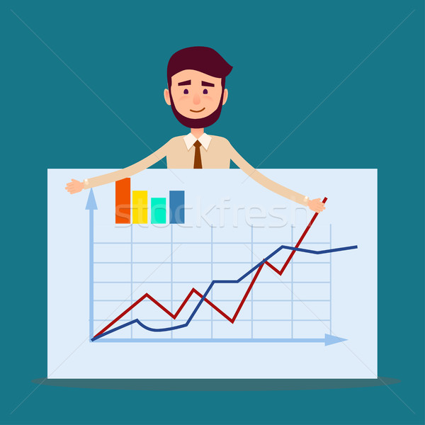 Manager Standing Behind Placard with Charts Vector Stock photo © robuart