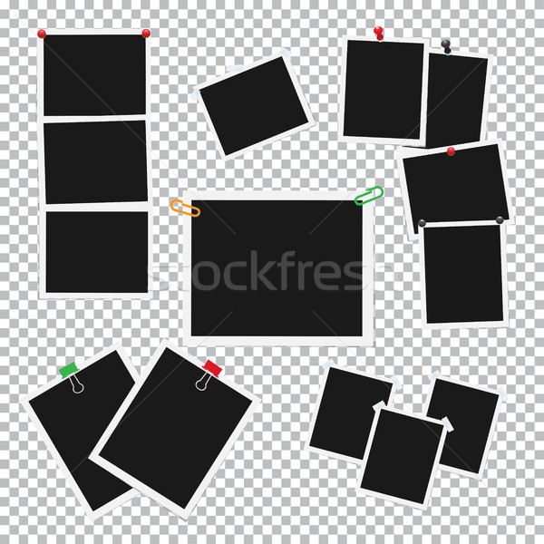Stock photo: Empty Photo Frames Attached with Pins Vector Set