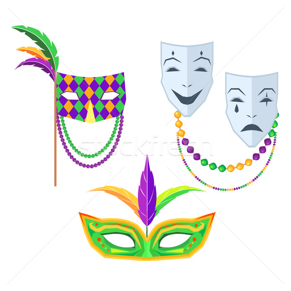 Mardi Gras. Carnival Masks Isolated Illustrations Stock photo © robuart